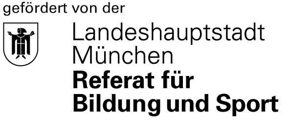 Das ist das Logho der Stadt München. In schwatzer Schrift auf weißem Hintergrund steht Gefördert von der Landeshauptstadt München, Referat für Bildung und Sport